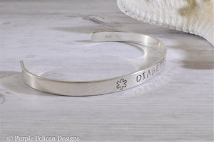 Medical Alert Diabetic - Cuff Bracelet Personalized - Purple Pelican Designs