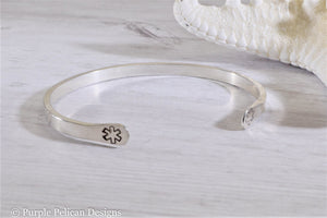Diabetic Medical Alert Reverse Cuff Bracelet in Solid Sterling Silver or Gold - Purple Pelican Designs