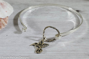 Do More Of What Makes You Happy Hinged Sterling Silver Bangle - Purple Pelican Designs