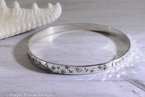 Don't wait for the storm to pass hand stamped custom quote bangle bracelet in sterling silver or gold personalized custom jewelry purple pelican designs