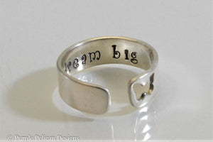 Dream Big Sterling Silver Cuff Ring With Butterfly or Heart Cutout - Purple Pelican Designs