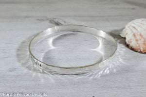Sterling Silver Song Lyric Bangle - Every Little Thing Is Gonna Be Alright - Purple Pelican Designs