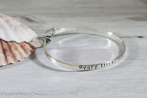 Every Little Thing Is Gonna Be Alright Sterling Silver Hinged Bangle Bracelet - Purple Pelican Designs
