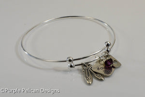 Personalized Dancers Sterling Silver Expandable Bangle - Purple Pelican Designs