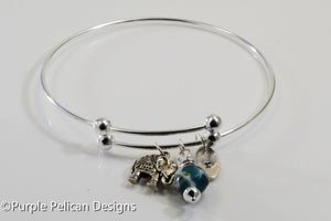 sterling silver expandable bangle bracelet with charms and gemstone hand stamped personalized jewelry purple pelican designs