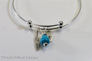 Personalized Sterling Silver Expandable Bangle With Feather And Turquoise - Purple Pelican Designs