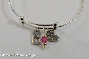 Sterling Silver Expandable Bangle - Love You More - Purple Pelican Designs