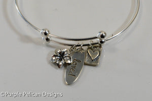 loved sterling silver expandable bangle bracelet personalized hand stamped jewelry purple pelican designs