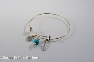 Namaste Sterling Silver Expandable Bangle - Purple Pelican Designs