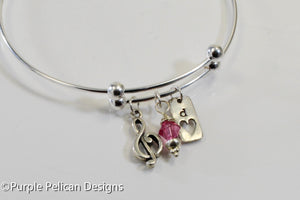 Personalized Sterling Silver Music Lovers Expandable Bangle - Purple Pelican Designs