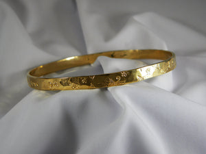 18k Solid Gold Bangle Faith Hope Love - Purple Pelican Designs