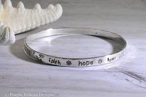 faith hope love bangle bracelet hand stamped personalized custom jewelry purple pelican designs