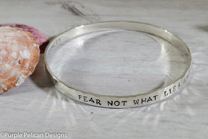 F**K Cancer Bangle Bracelet Fear Not What Lies Ahead For There Is Strength Behind You - Purple Pelican Designs