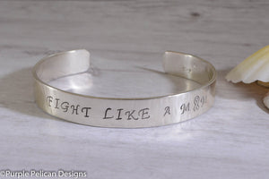 Fight Like A Mom Cuff Bracelet - Purple Pelican Designs