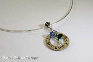 Fight Like A Mom Necklace in Sterling Silver - Purple Pelican Designs