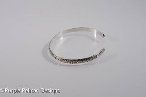 Sterling Silver Cuff Bracelet with antiqued floral pattern
