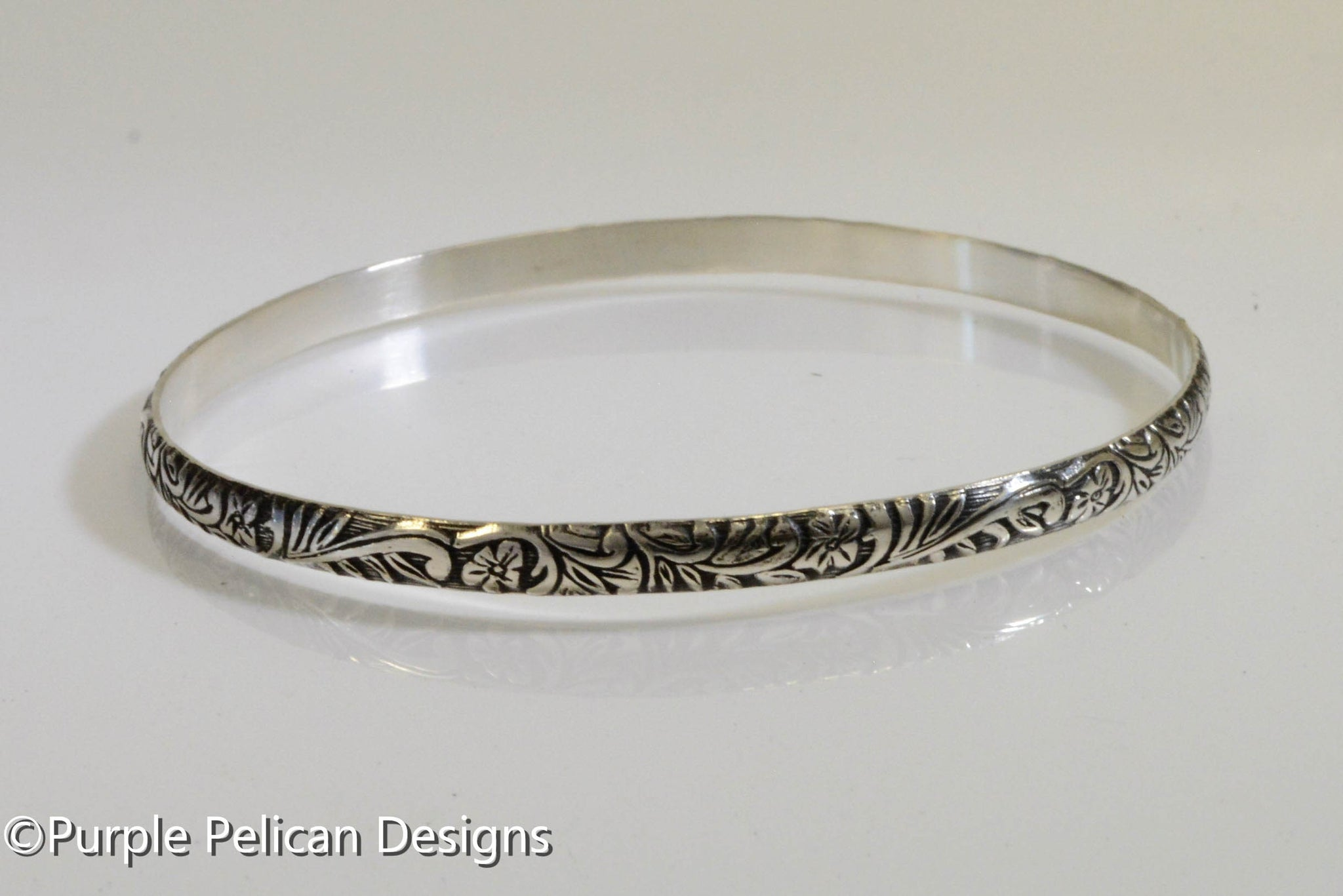 defdf365caa70 Sterling Silver Bangle - Antique floral print