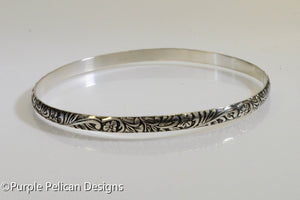 Sterling Silver Bangle - Antique floral print