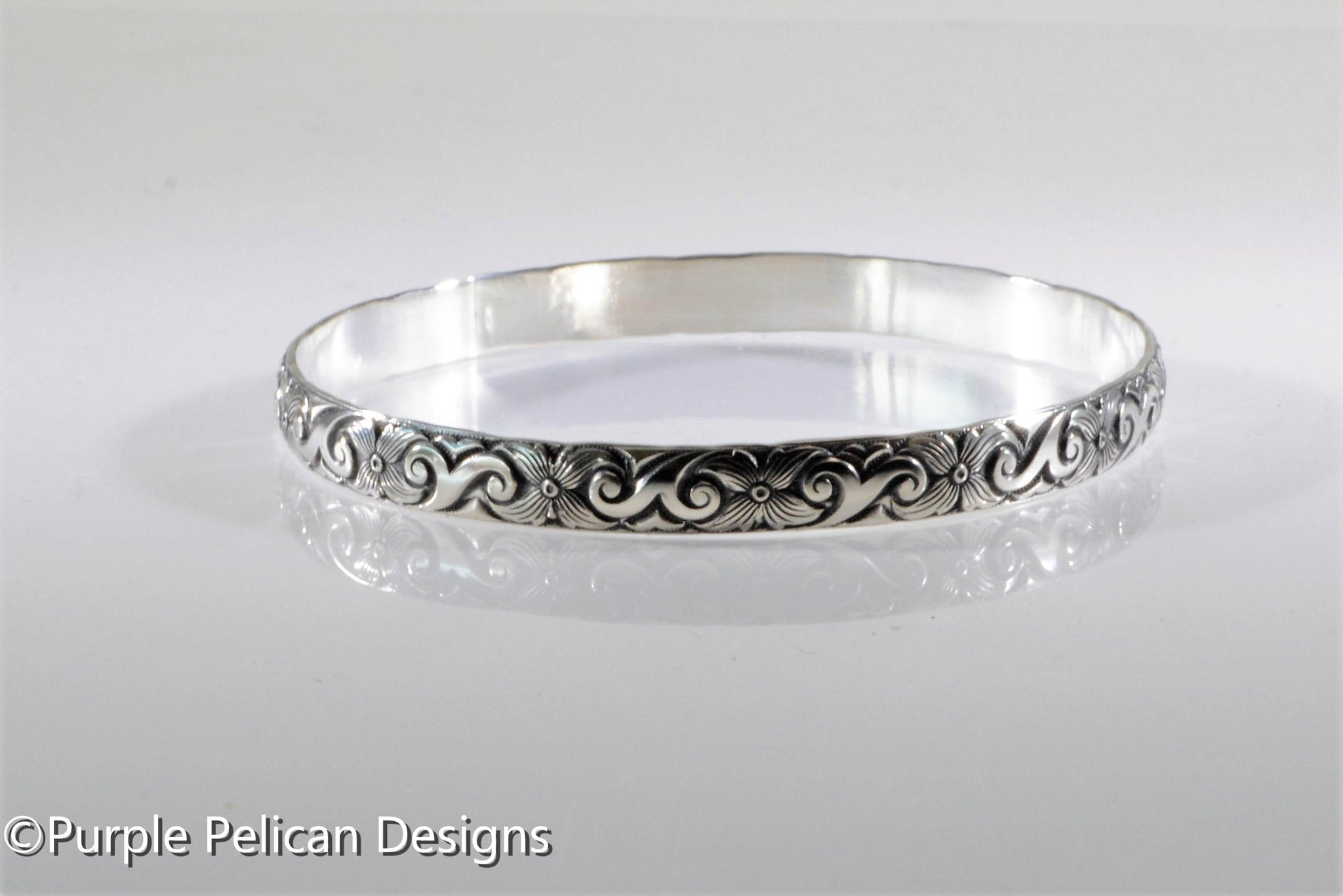 feaaa754ab552 Sterling Silver Bangle - Swirly Floral Design