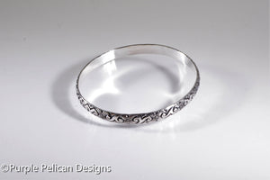 Sterling Silver Bangle - Swirly Floral Design