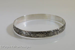 Sterling Silver Bangle - Antiqued Floral Design