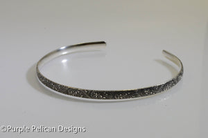 Sterling Silver Cuff Bracelet With a Tiny Floral Pattern