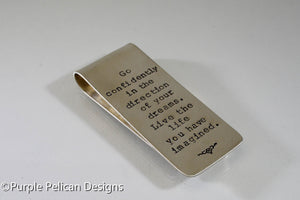 Graduation Money Clip - Go Confidently In The Direction Of Your Dreams... - Purple Pelican Designs