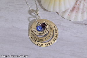 Sterling Silver Graduation Necklace - Go Confidently In The Direction Of Your Dreams... - Purple Pelican Designs