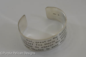 Serenity Prayer Cuff Bracelet - Purple Pelican Designs