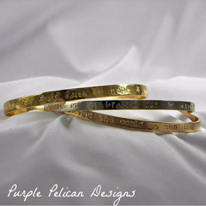 Solid Gold Custom Personalized Bangle Bracelet hand stamped quote- Purple Pelican Designs