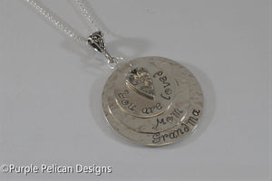 Grandmother's pendant - Personalized with names - Purple Pelican Designs