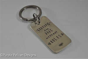 Grandpas Are Dads Without Rules Keychain - Purple Pelican Designs