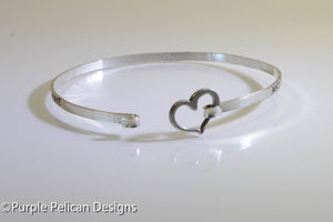 Beatles Inspired Sterling Silver Hinged Bangle - The love you take is equal to the love you make - Purple Pelican Designs