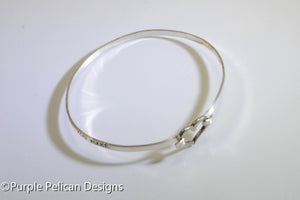 Beatles Inspired Sterling Silver Hinged Bangle - The love you take is equal to the love you make