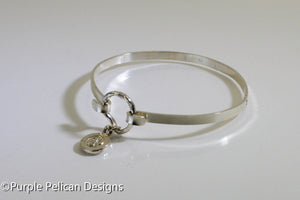 Sterling Silver Hinged Bangle -Breathe In Breathe Out Move On - Purple Pelican Designs