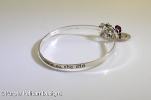 She Believed She Could So She Did Sterling Silver Hinged Bangle - Purple Pelican Designs