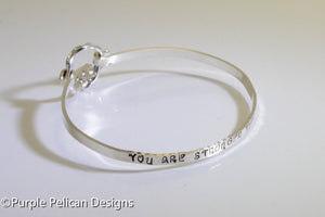 fuck cancer sterling silver hinged bangle you are stronger than you know hand stamped personalized jewelry