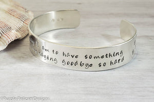 Pooh quote bracelet - How lucky I am to have something that makes saying goodbye so hard - Purple Pelican Designs