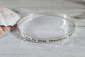 Pooh Quote Bangle Bracelet- How Lucky I Am To Have Something That Makes Saying Goodbye So Hard - Purple Pelican Designs