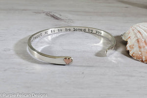 How Sweet It Is To Be Loved By You Solid Gold or Sterling Silver Reverse Cuff - Purple Pelican Designs