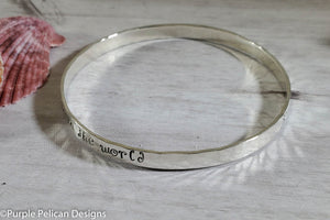 Song Lyric Bangle Bracelet  - How Wonderful Life Is While You're In The World - Purple Pelican Designs