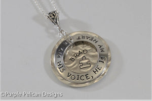 Autism Mom's Personalized Pendant Necklace - I am his voice, he is my heart - Purple Pelican Designs hand stamped personalized jewelry