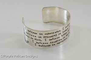 Audrey Hepburn Quote Bracelet - I believe in manicures... - Purple Pelican Designs