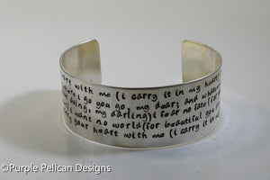 I Carry Your Heart With Me Hand Stamped E.E.Cummings Poem Bracelet - Purple Pelican Designs