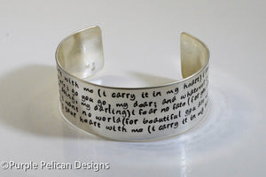 I Carry Your Heart With Me Hand Stamped E.E.Cummings Poem Bracelet
