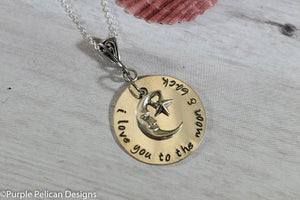 i love you to the moon necklace sterling silver pendant personalized hand stamped jewelry purple pelican designs