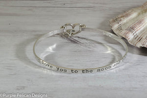 i love you to the moon and back sterling silver hinged expandable bangle bracelet adjustable bangle plus size bangle purple pelican designs