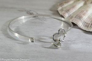 I Love You To The Moon And Back -  Hinged Bangle Sterling Silver - Purple Pelican Designs
