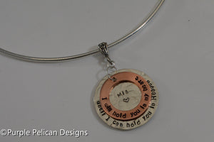 Memorial Necklace - I will hold you in my heart until I can hold you in heaven - Purple Pelican Designs