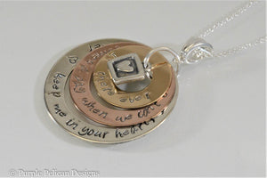 Gold Tri Color Necklace - If There Ever Comes A Day....Pooh Quote - Purple Pelican Designs